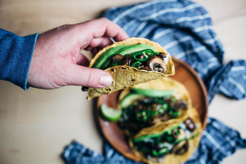 Mushroom Kale Tacos -