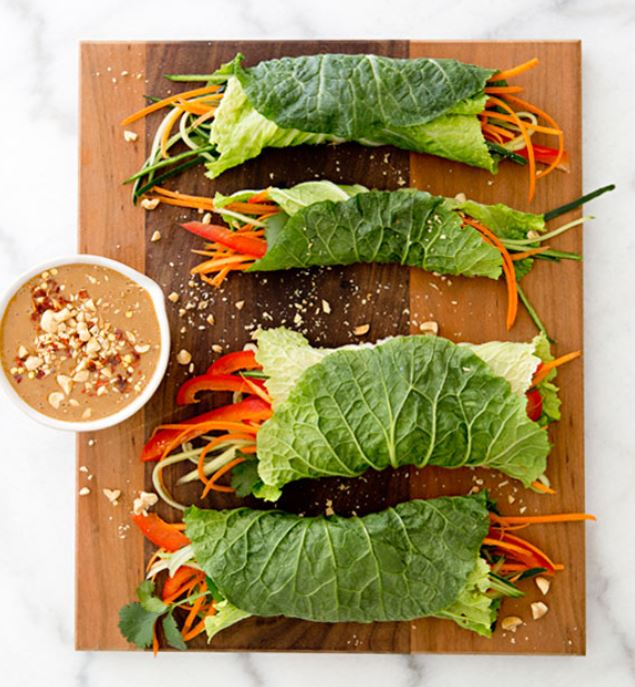 Cabbage Wraps - with spicy peanut dipping sauce!