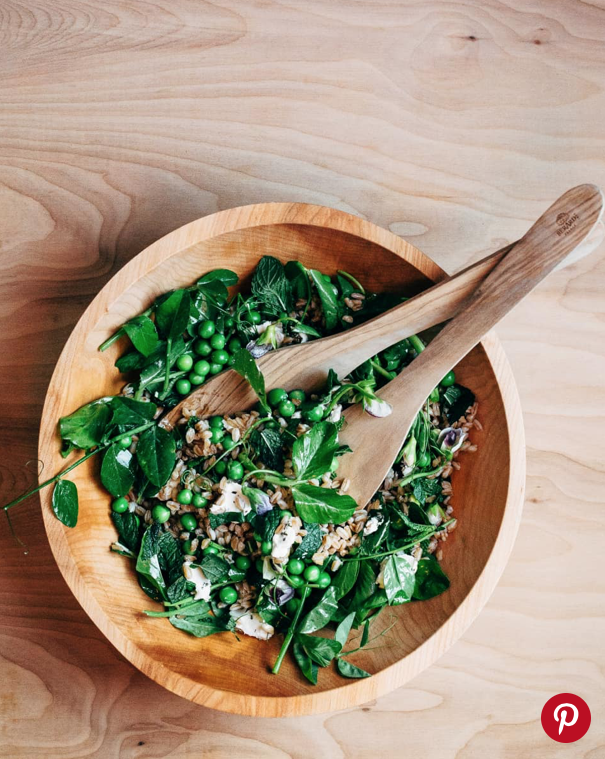 Toasted Farro Salad with Fresh Peas, Pea Shoots, and Herbs -