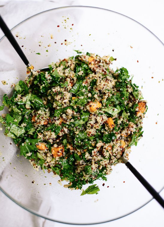Quinoa Salad with Sweet Potatoes and Kale -