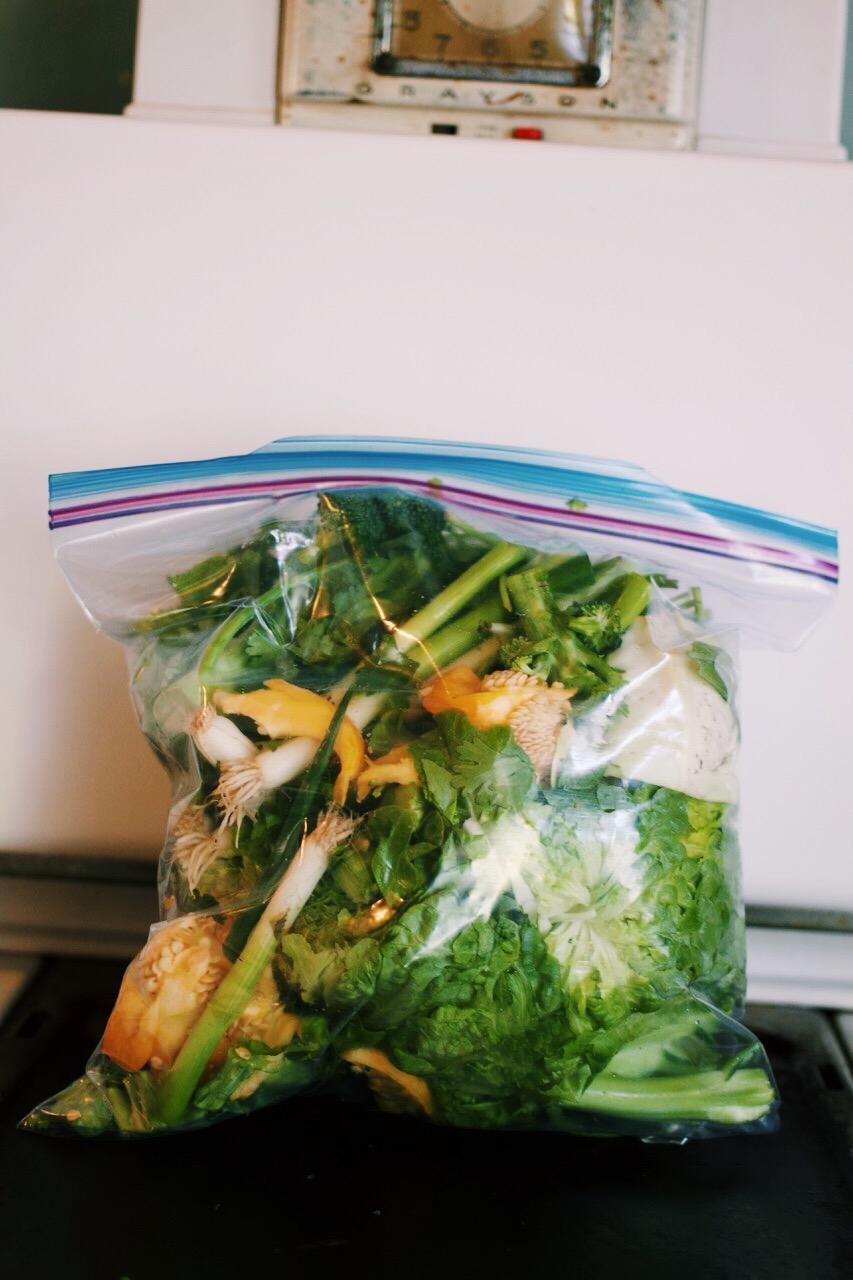 MY FOOD SCRAP FREEZER BAG READY TO MAKE VEGGIE BROTH -