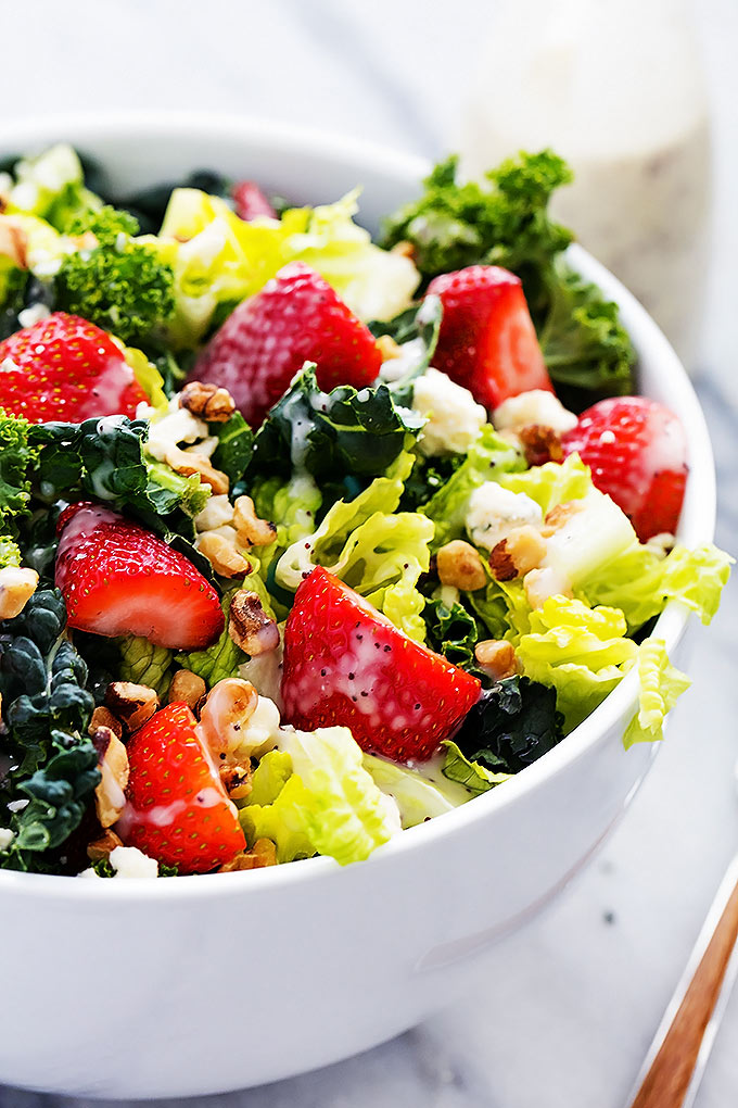 Strawberry, Poppy Seed, and Chopped Kale Salad -