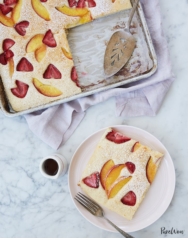 Strawberry Peach Sheet Tray Pancake -