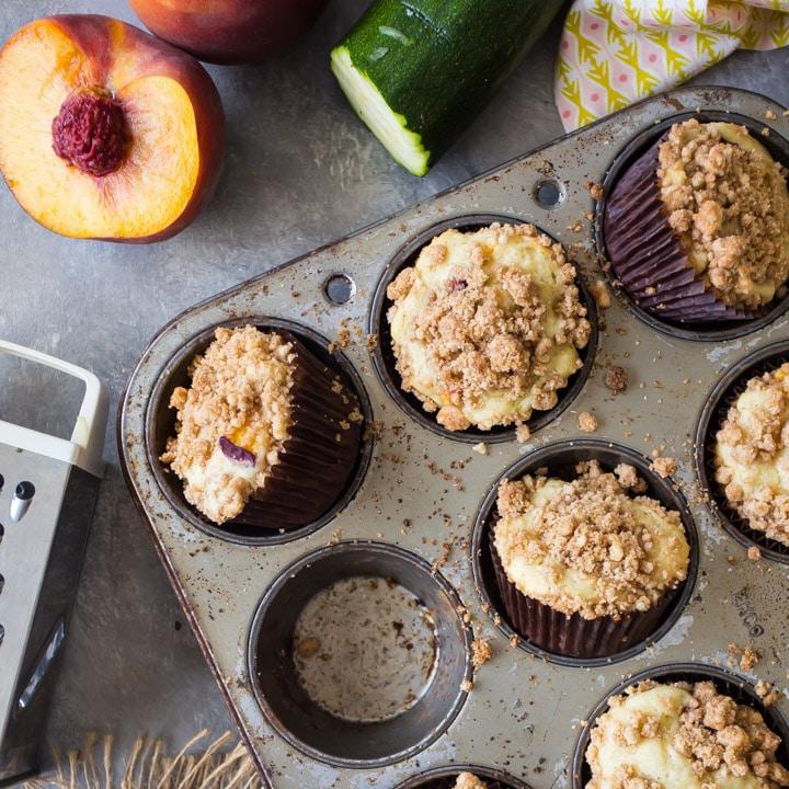 Zucchini & Peach Muffins -