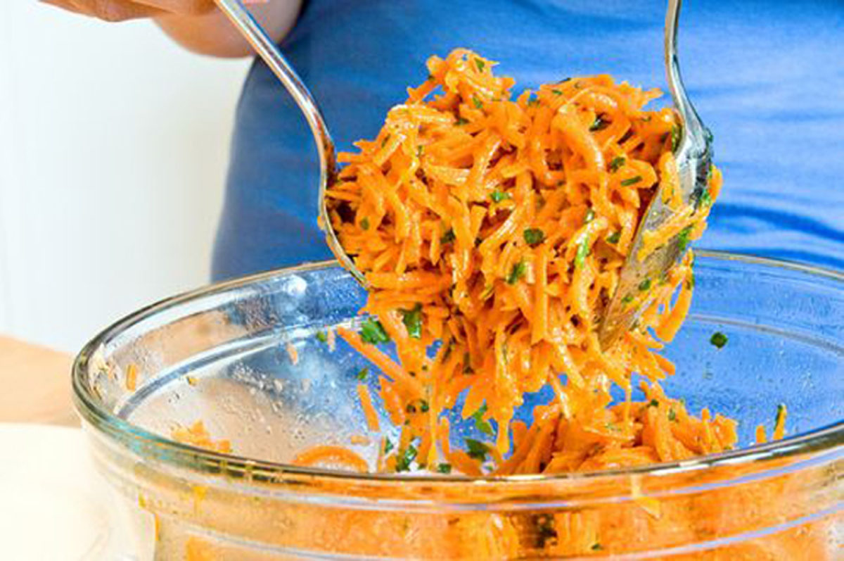 Grated Carrot Salad with Lemon Dijon Vinaigrette -