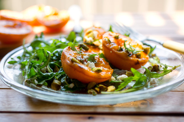 Arugula Salad With Grilled Apricots and Pistachios -