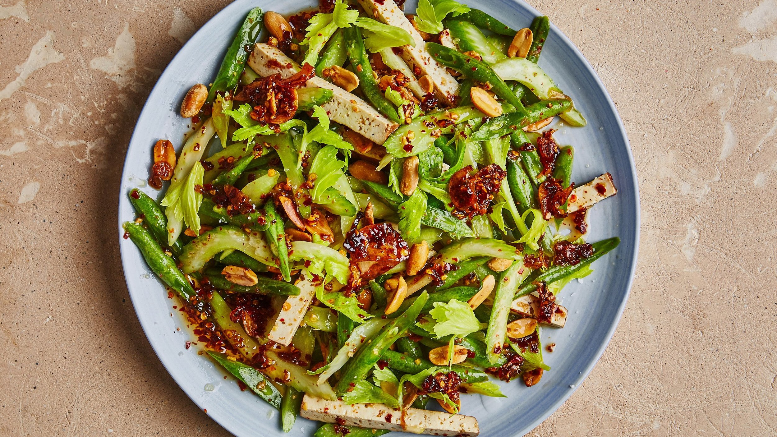 Celery, Green Bean, and Tofu Salad with Chile Crisp -