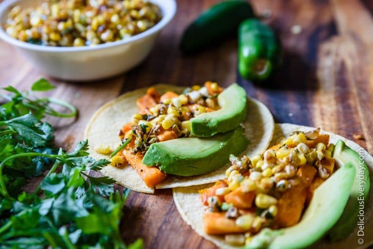 Mexican Street Corn and Roasted Sweet Potato Tacos  -