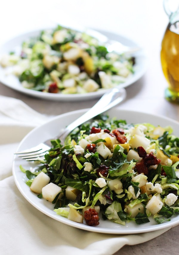 CHOPPED BRUSSELS SPROUT, KALE AND CHARD SALAD -