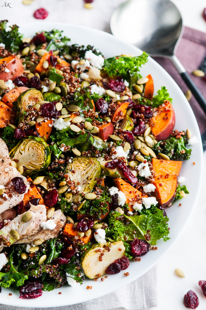 ROASTED BRUSSELS SPROUT AND YAM QUINOA SALAD -