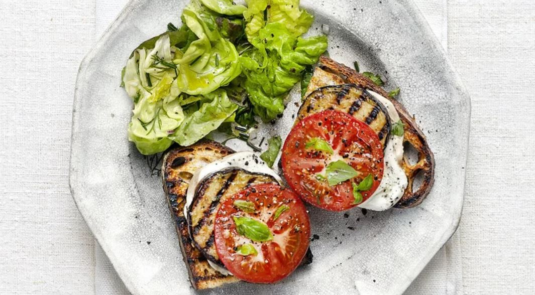 Grilled Eggplant and Smoked Mozzarella Melts -