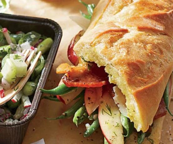 Roasted Green Bean, Apple, and Bacon Sandwiches -