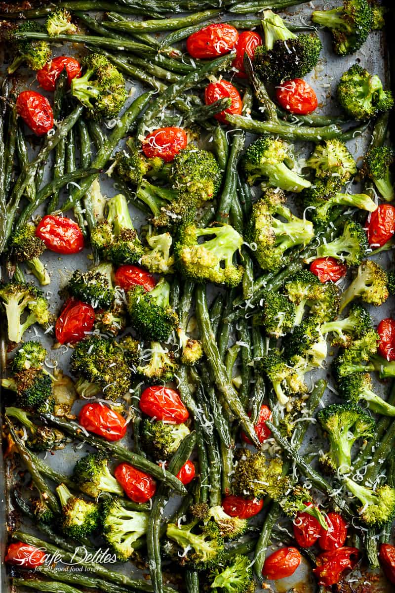 roasted broccoli & green beans -