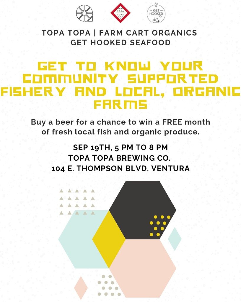 Oh and we're having a party! - We're so excited for this Thursday! We'll be at Topa Topa's tasting room this Thursday struttin our veggies and getting to know you more! Come and hang! There will be a band, food truck and info about our good friends at Get Hooked Seafood. They only bring the best local fish to people's doors and drop points, just like us :) Buy one glass of beer and automatically be entered to win a free month of produce & FISH. See you there!