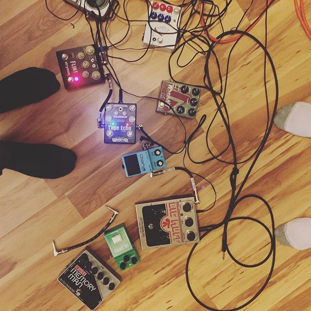 I could have made this look nicer.  #strymon #bigmuff #pedals #electroharmonix #jhs #feet #producer #guitartracking