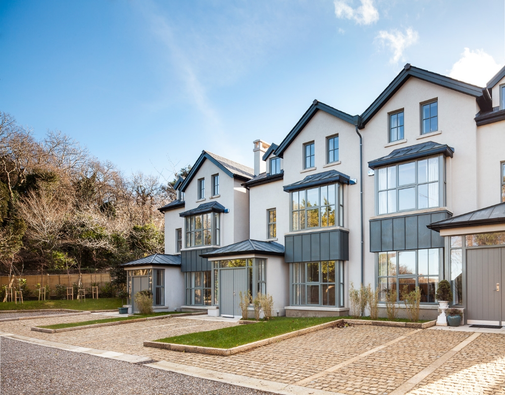 Mount Prospect   A development of 3 luxury houses on a very restricted site on Kiliney hill. The houses are traditional in form but detailed and finished in a very contemporary style.