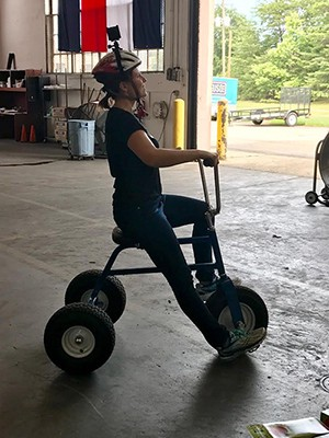 That's me, riding an adult tricycle, while shooting 360 video.