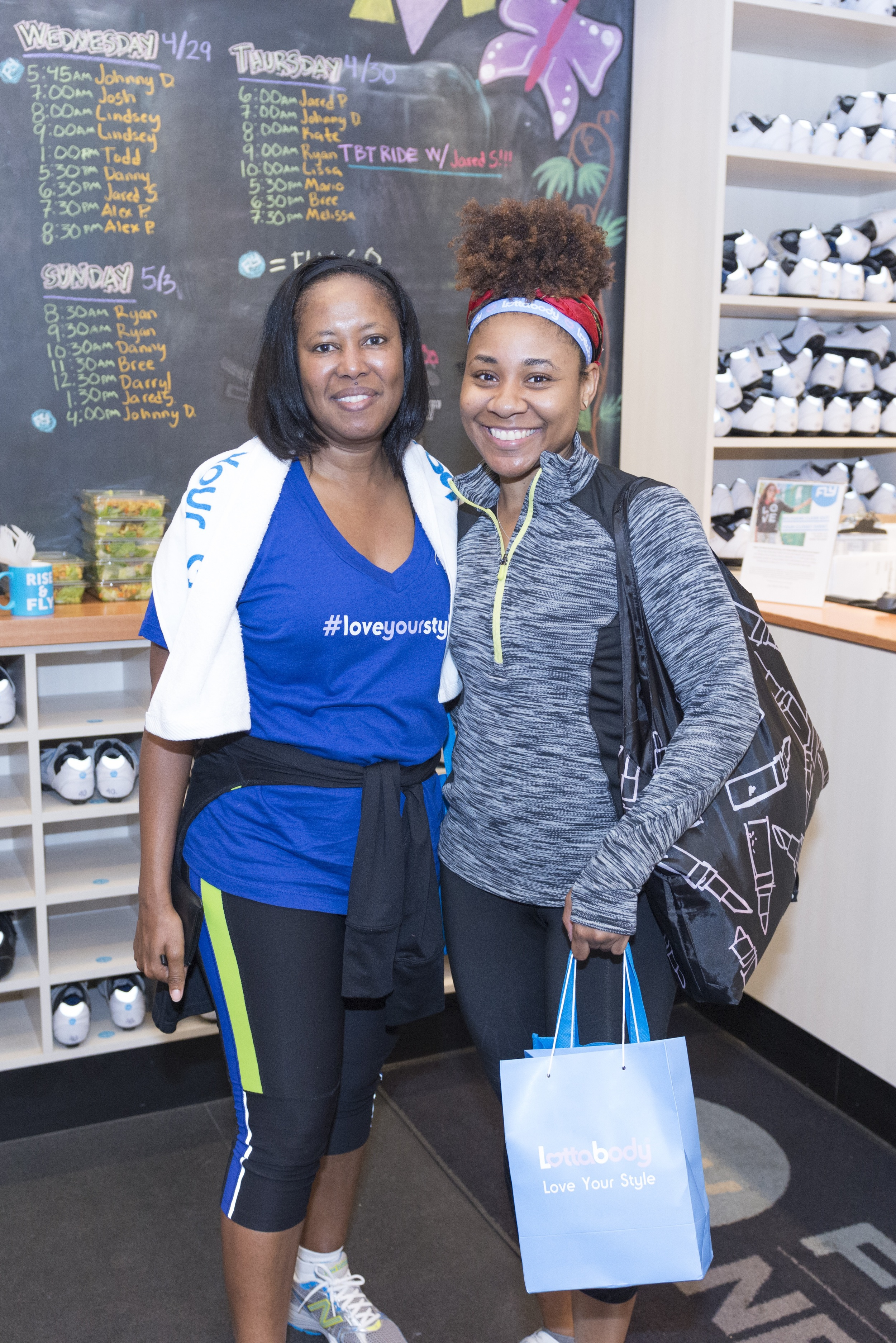 All smiles after the spin class with Jolorie Williams, Vice President of Multicultural Marketing.