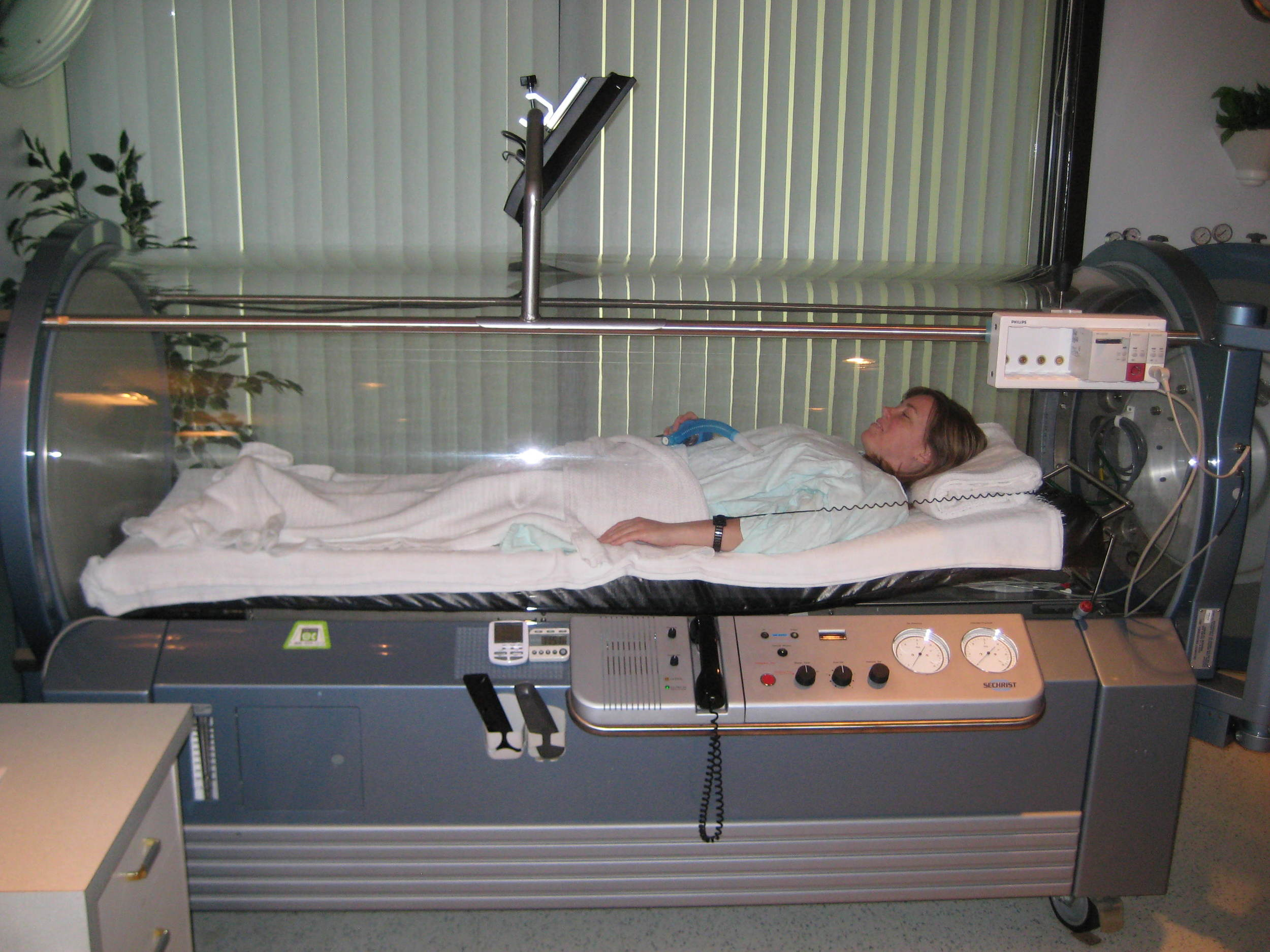 file photo of a woman getting hyperbaric oxygen therapy