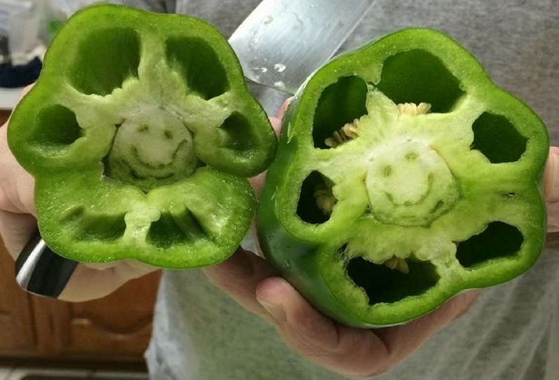 A friend sent me this beautiful smile, after he was surprised by the message inside his green pepper!  A message from nature.