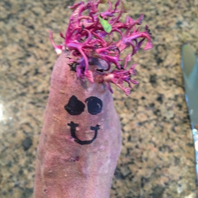 A Japanese sweet potato, served with a smile.