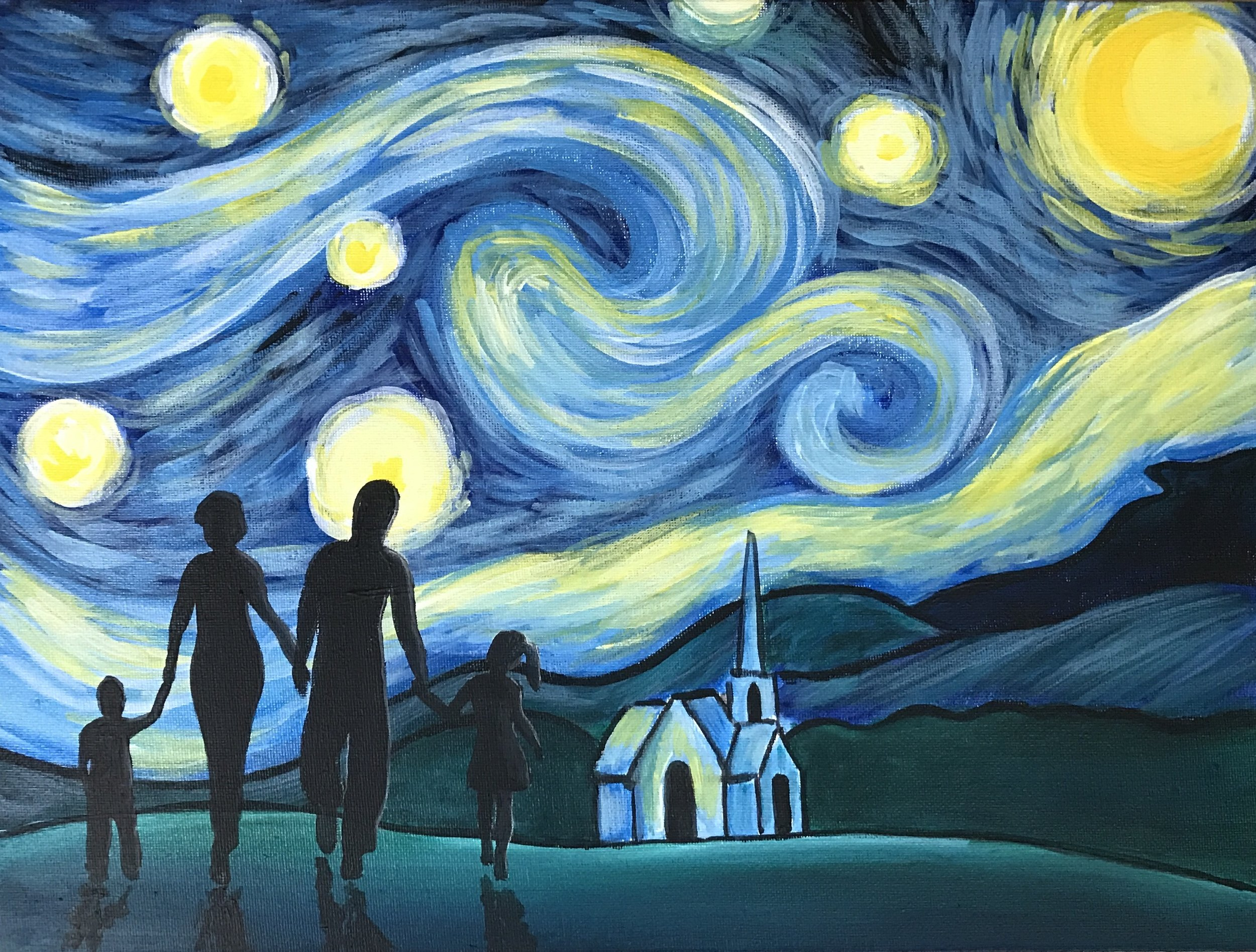Family Stroll on a Starry Night