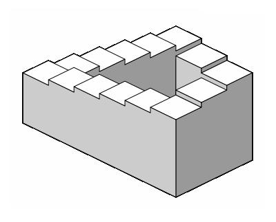 (Penrose Staircase -image soure: http://www.optical-illusion-pictures.com/paradox.html)