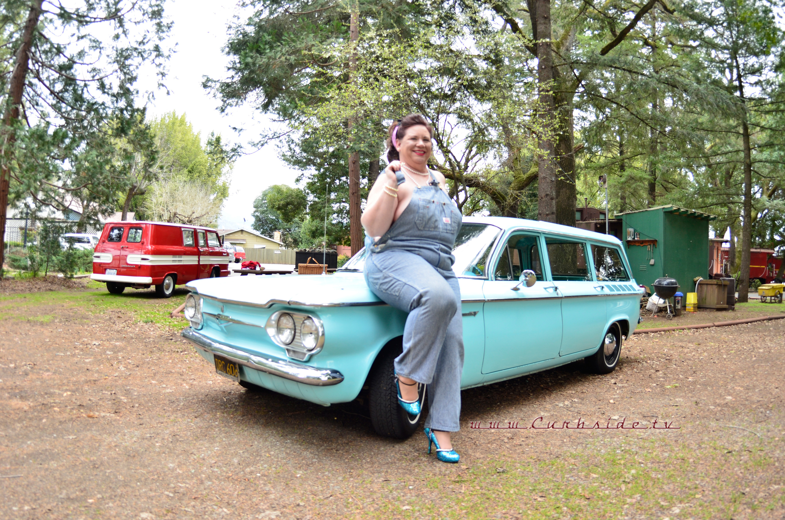1961 Corvair Lakewood and pin-up owner