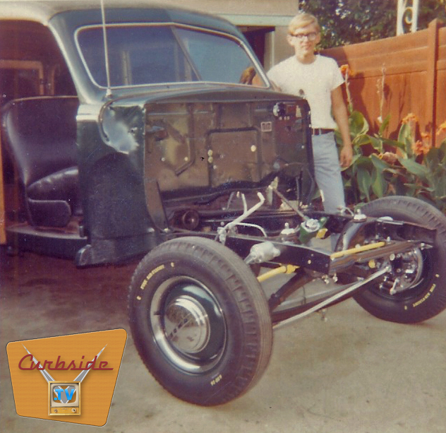 Author Jerry Mull and his restoration project, a 1948 Ford Super Deluxe 8 Woodie Wagon.