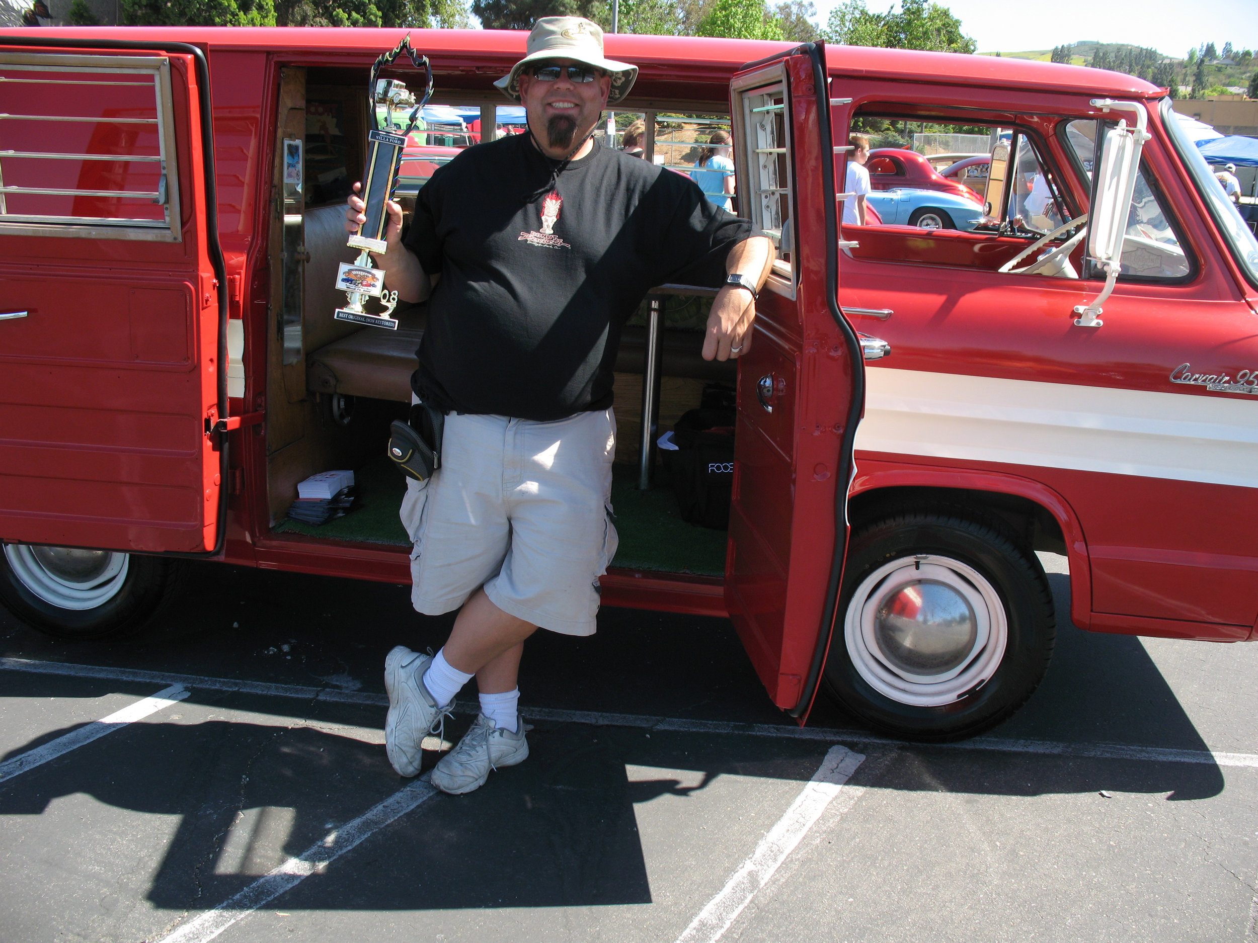 First time I ever won a first-place trophy at a car show - and with a 1964 Corvair Corvan camper