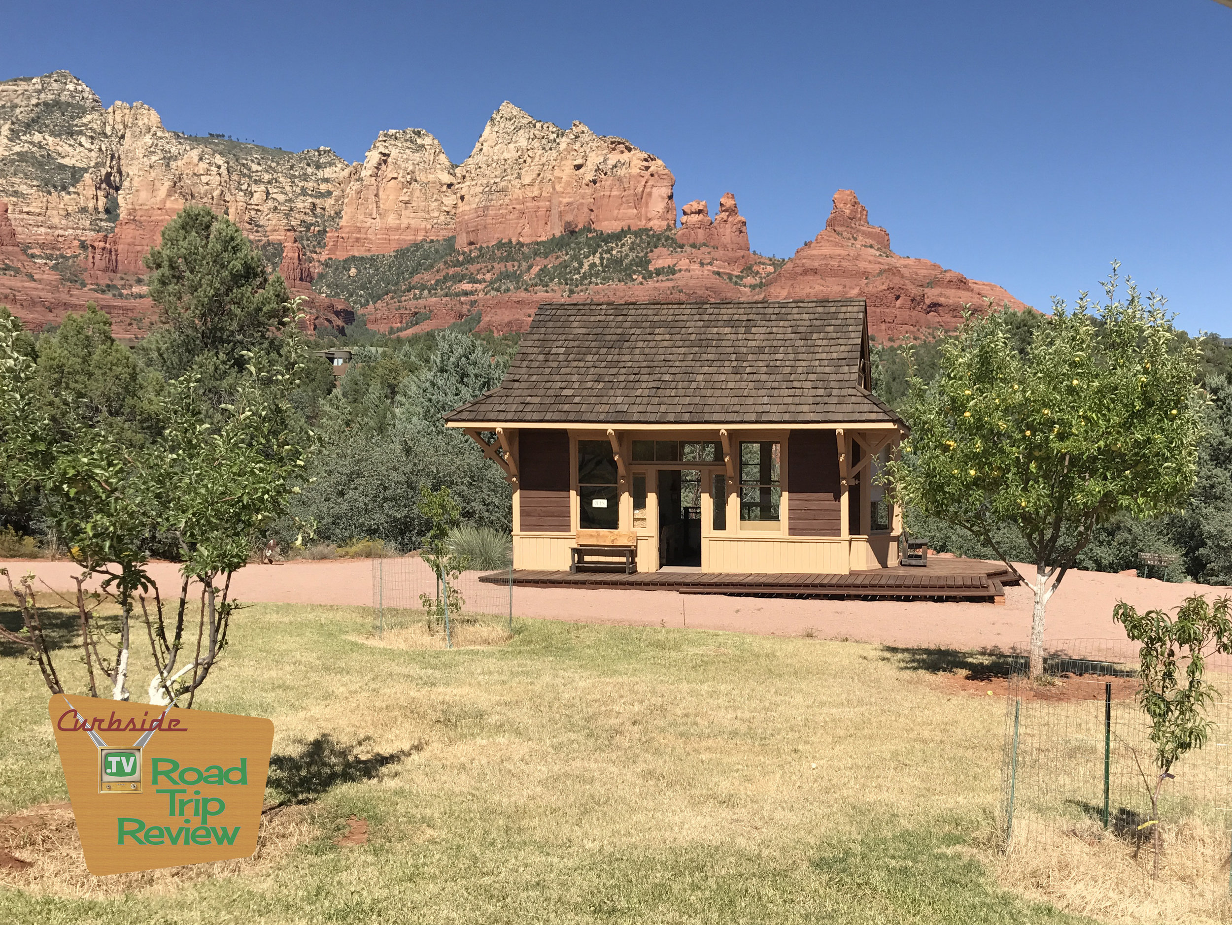 The first telegraph office in Sedona, Arizona set against the beautiful backdrop of the red rock formations that surround the town.