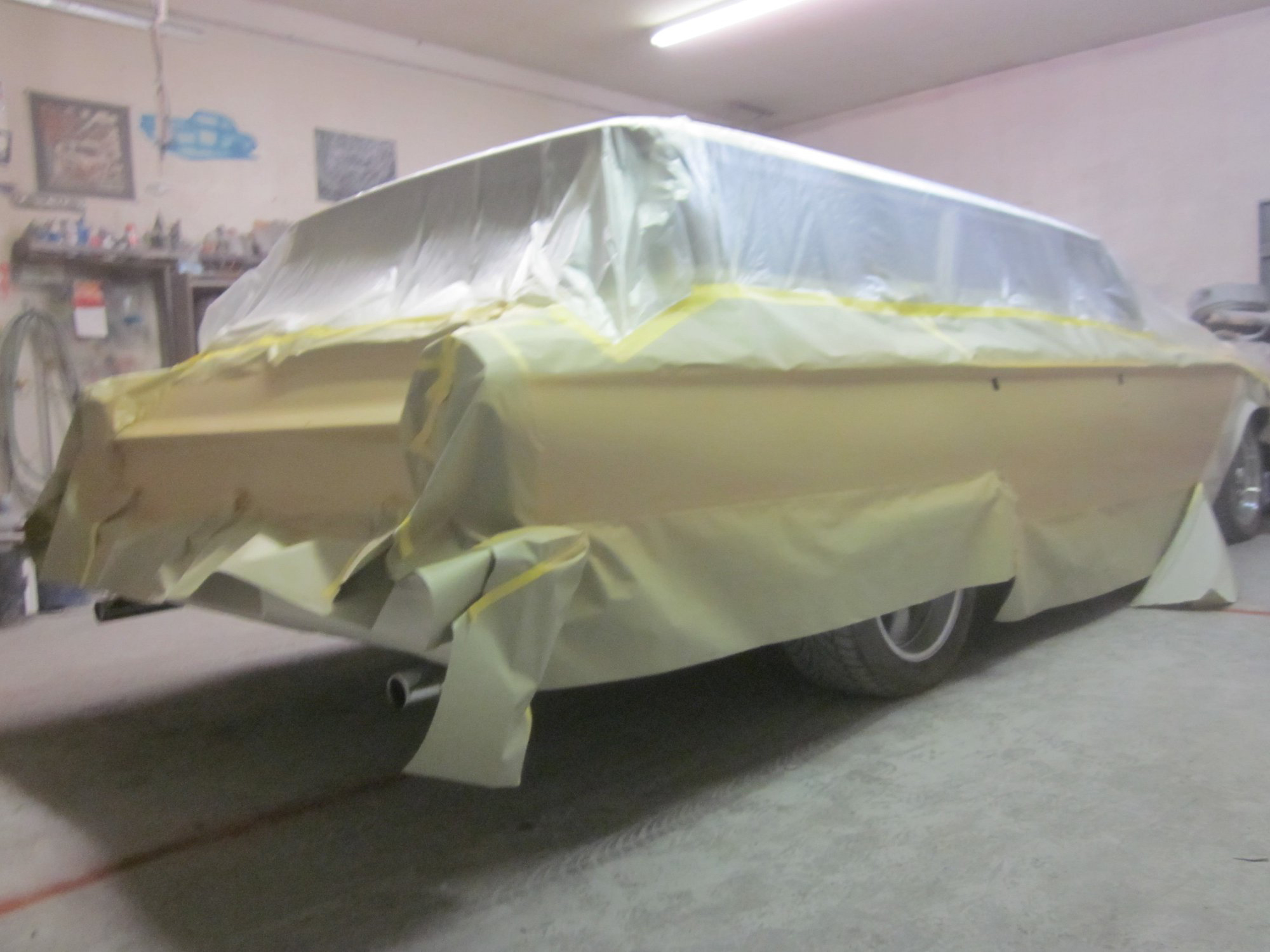 The wagon is prepped and the first coat is down