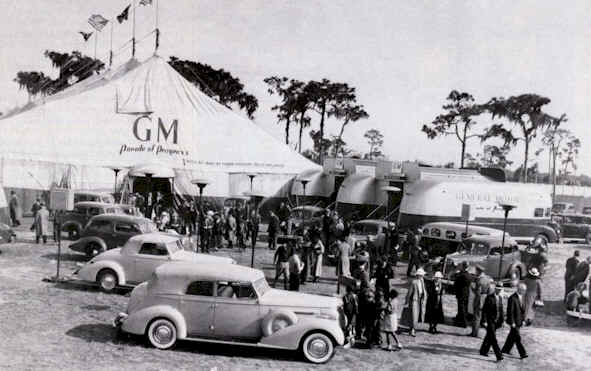 Photo of the original Parade of Progress with the streamliners