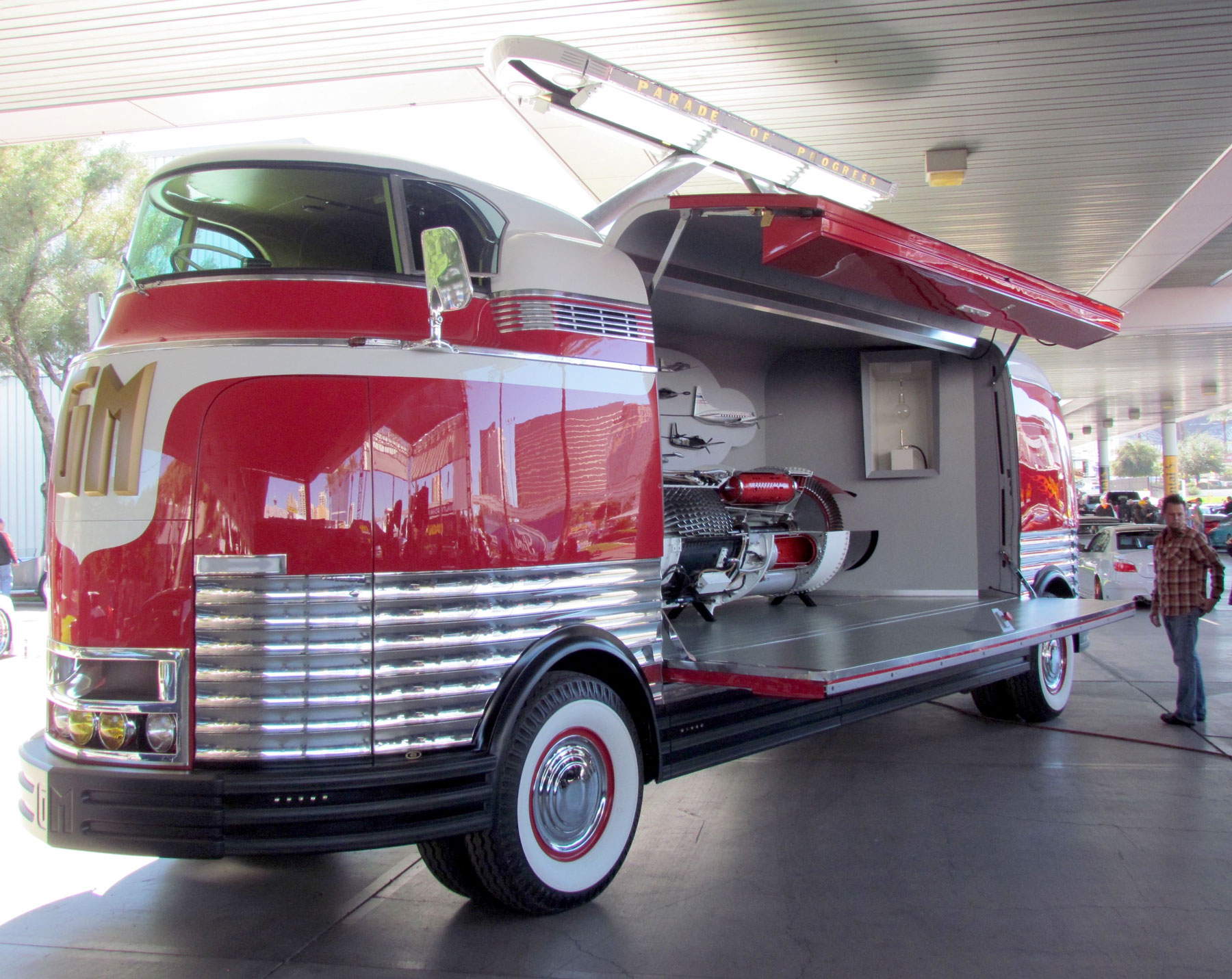 The massive doors on the Futurliner open to display a cutaway Allison jet engine.