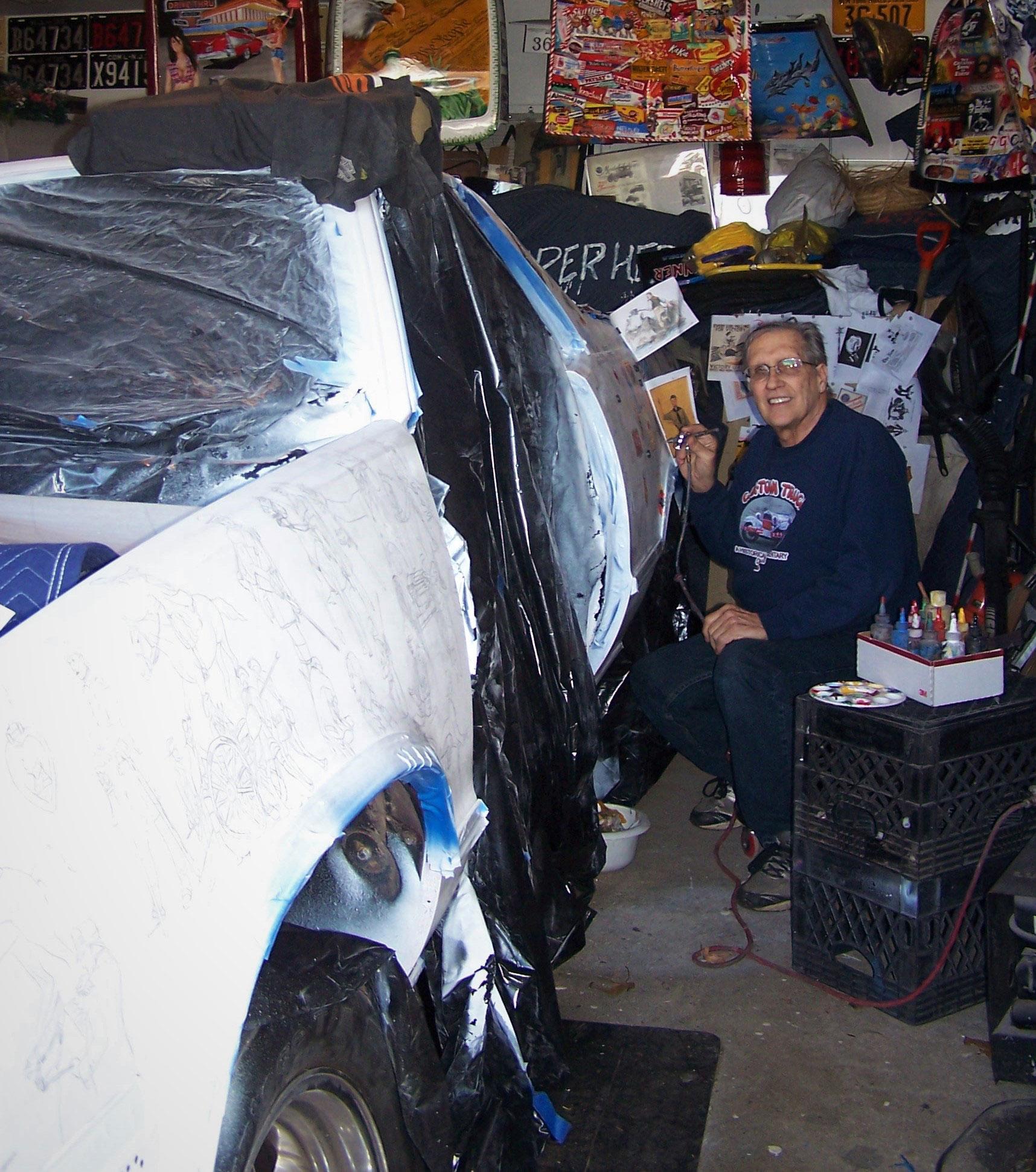 Robert Luczun working on his 1986 Chevrolet El Camino art car project.