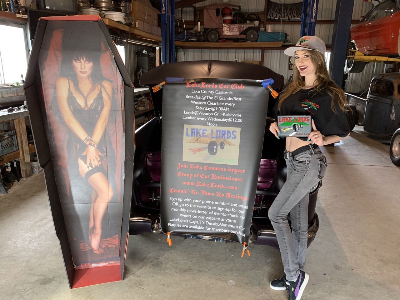 Lake Lords merchandise and banner along with Autumn and Elvira