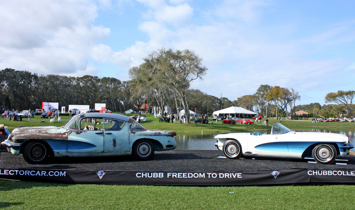 The unrestored 1955 LaSalle sedan, left, and the restored 1955 lasalle roadster, right, at the Amelia Island Concours.