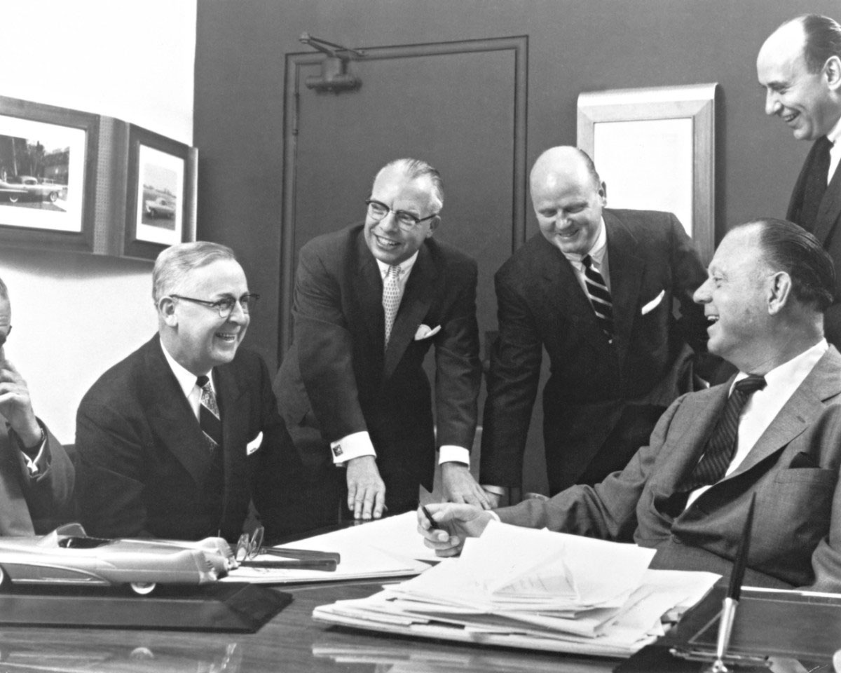 GM designers including Bill Mitchell and Harley Earl enjoy a moment of laughter.