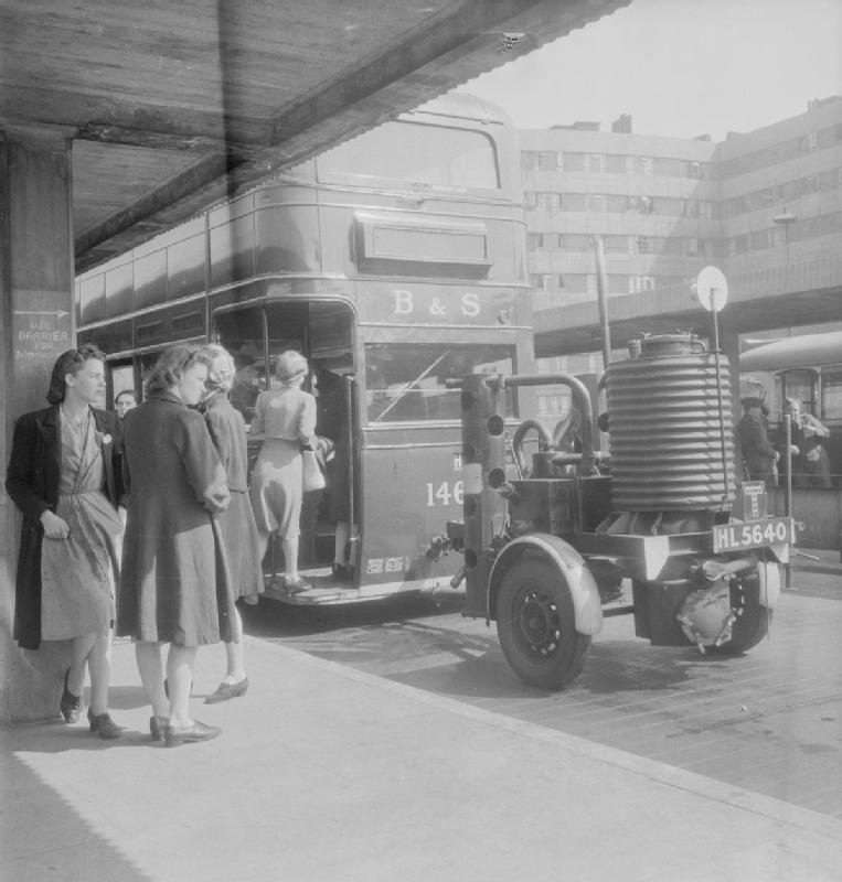 Wood-powered bus