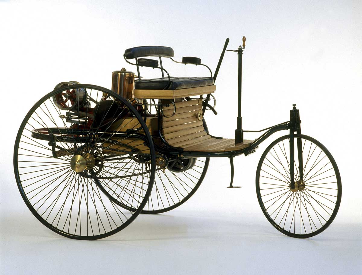 The original three-wheeler, the Benz Patent Motorwagen which Karl Benz' wife drove with her sons on an unauthorized journey around Germany.