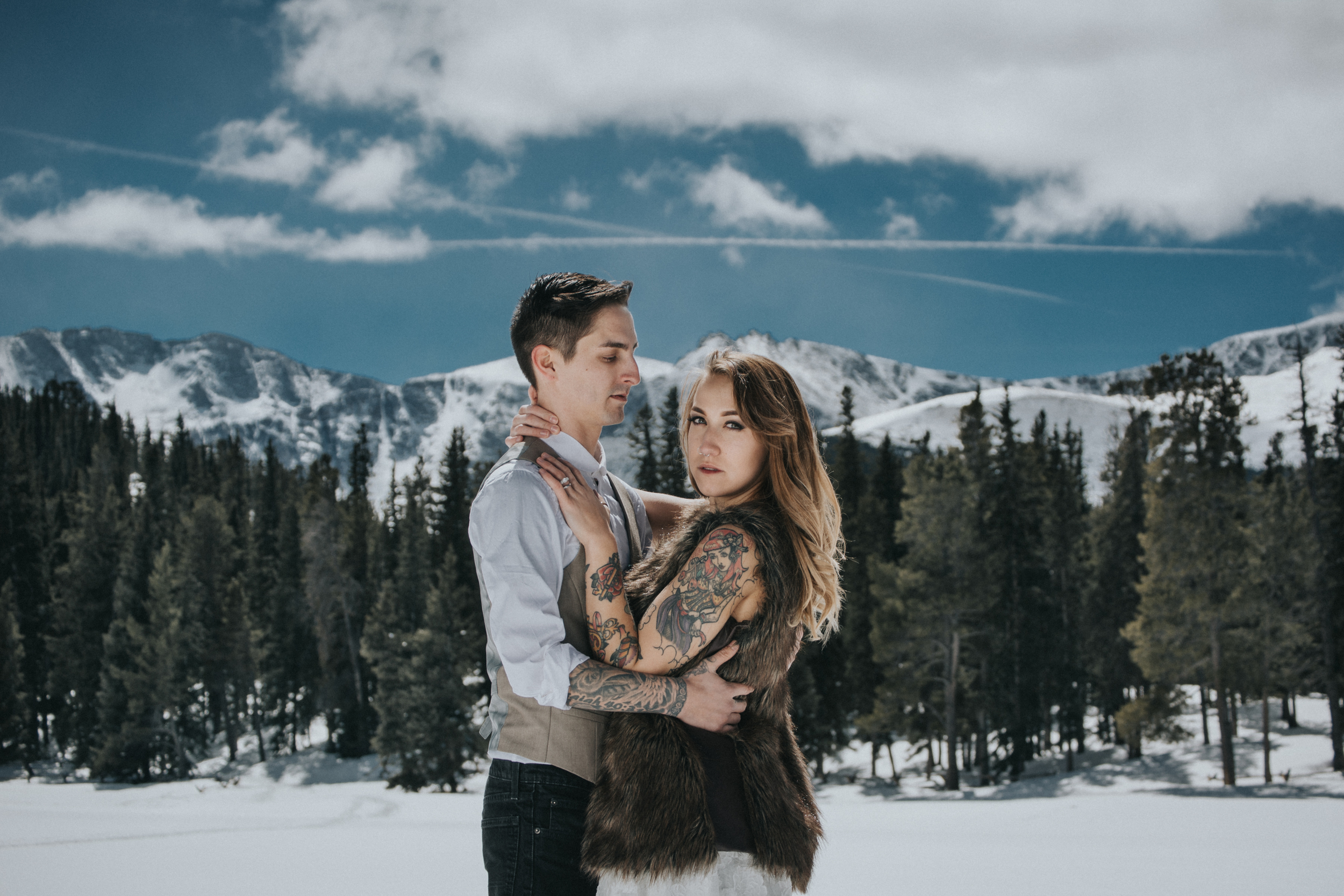 Literally standing out on the frozen Echo Lake to capture this stunning mountain backdrop behind this beautiful couple!