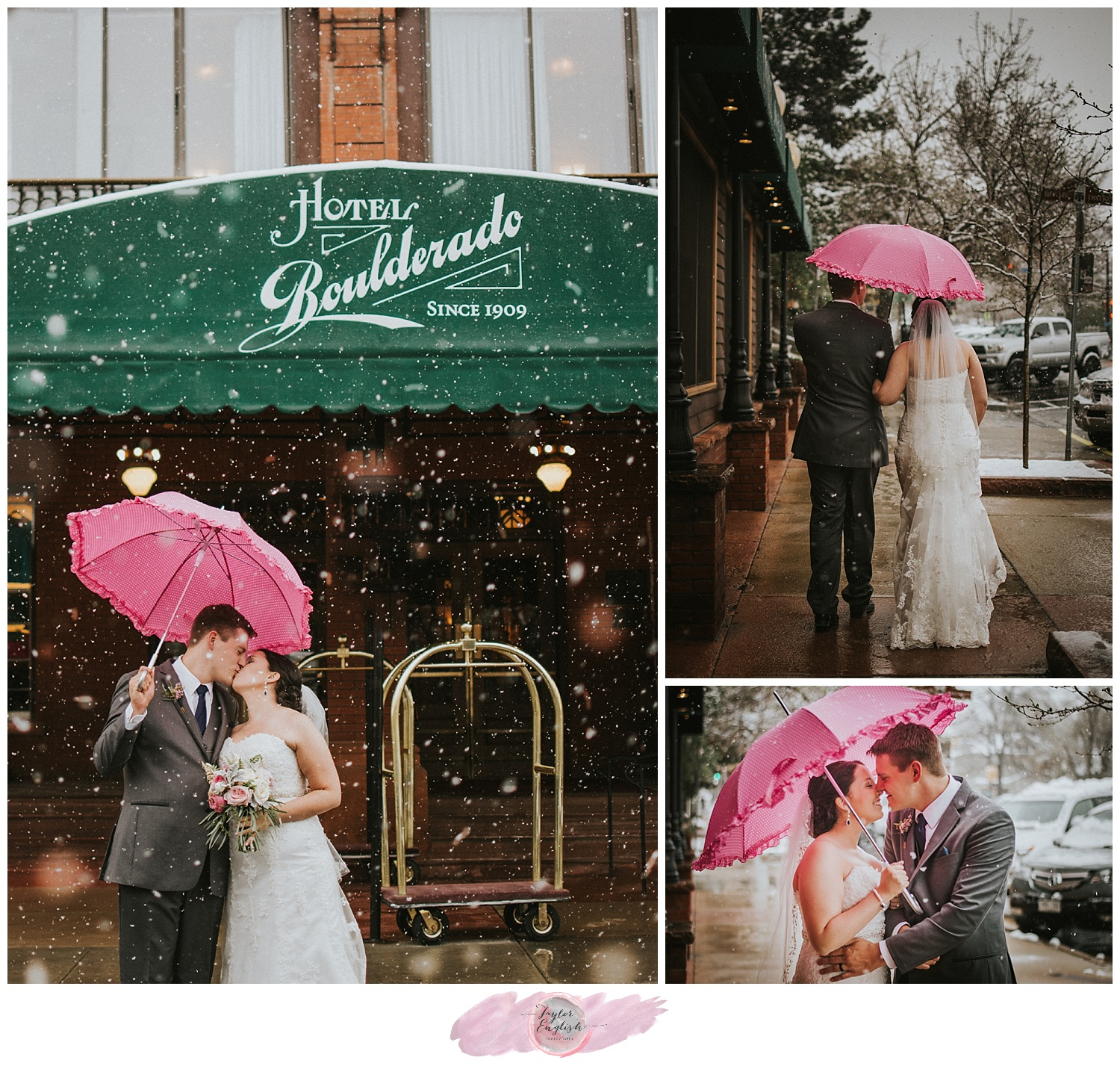 Giant snowflakes, pink frilly umbrellas, and a new husband and wife
