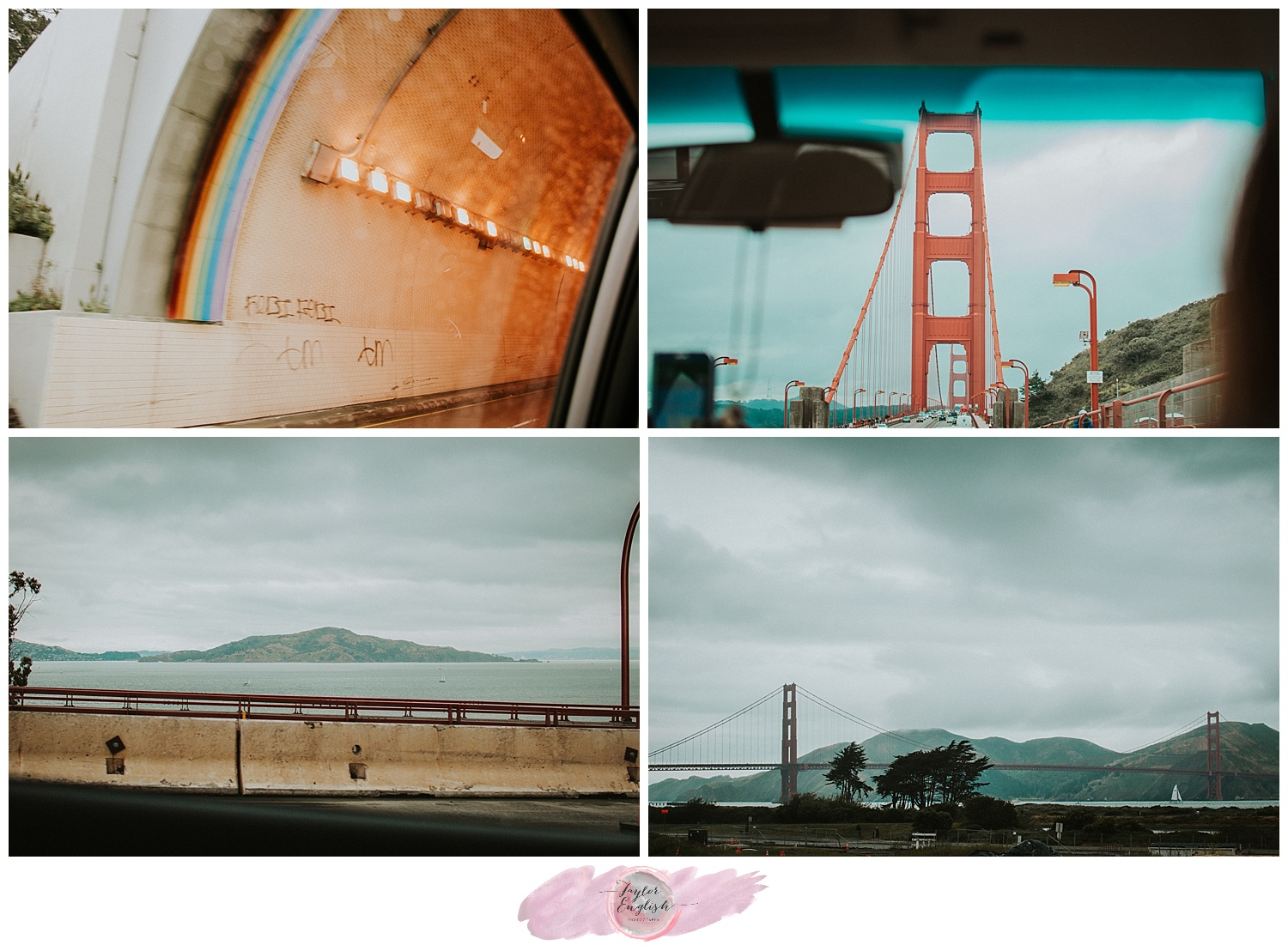 The Robin Williams tunnel and views of the giant Golden Gate Bridge from the car.