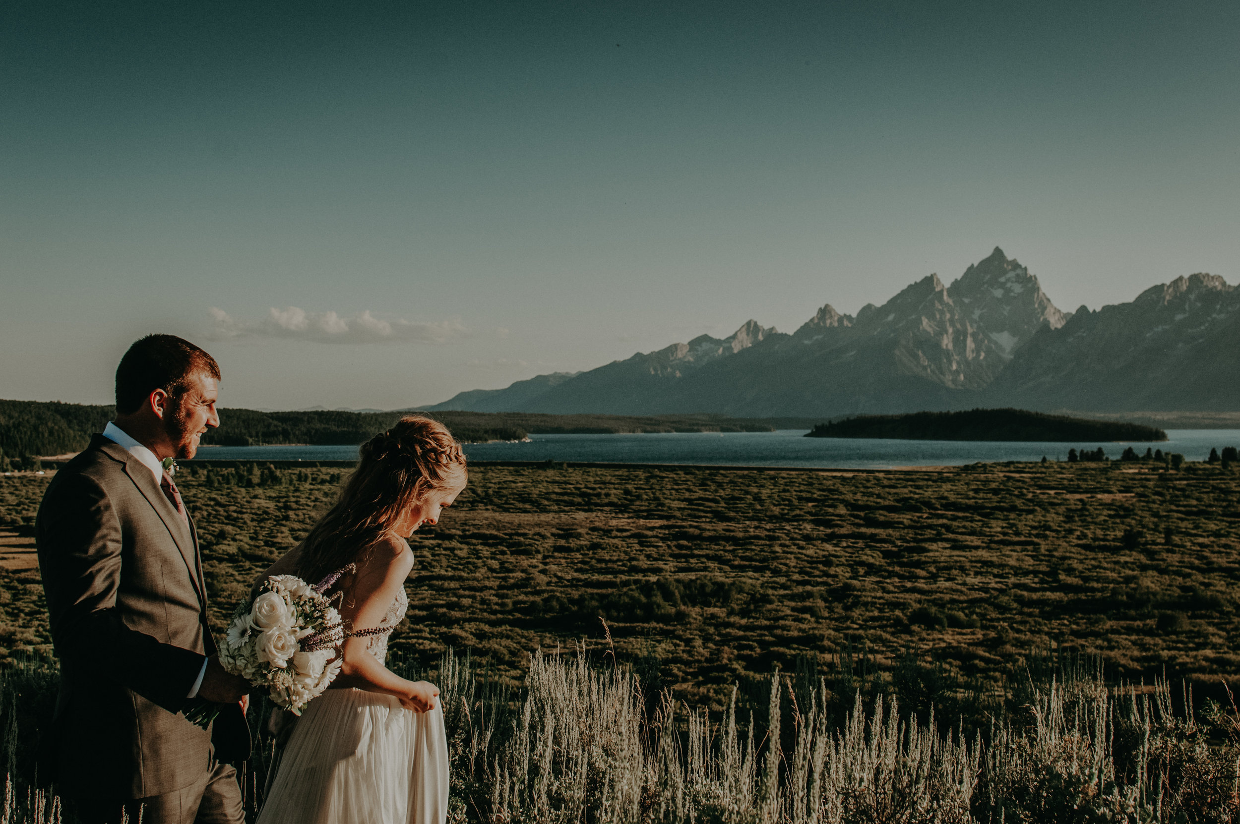 How could your wedding photos not be epic with the Grand Tetons as the backdrop?