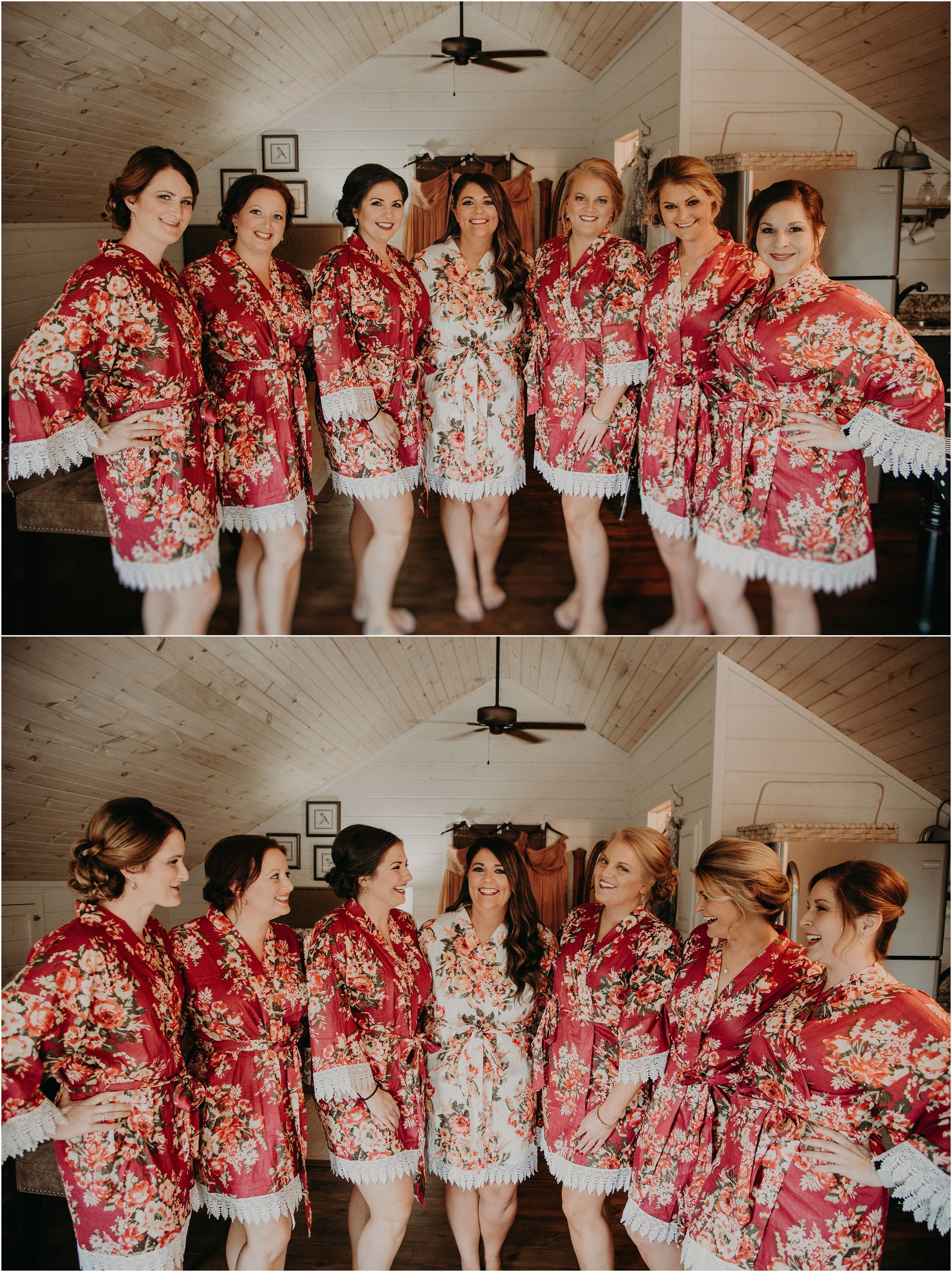Bride and bridesmaids in matching robes laughing together