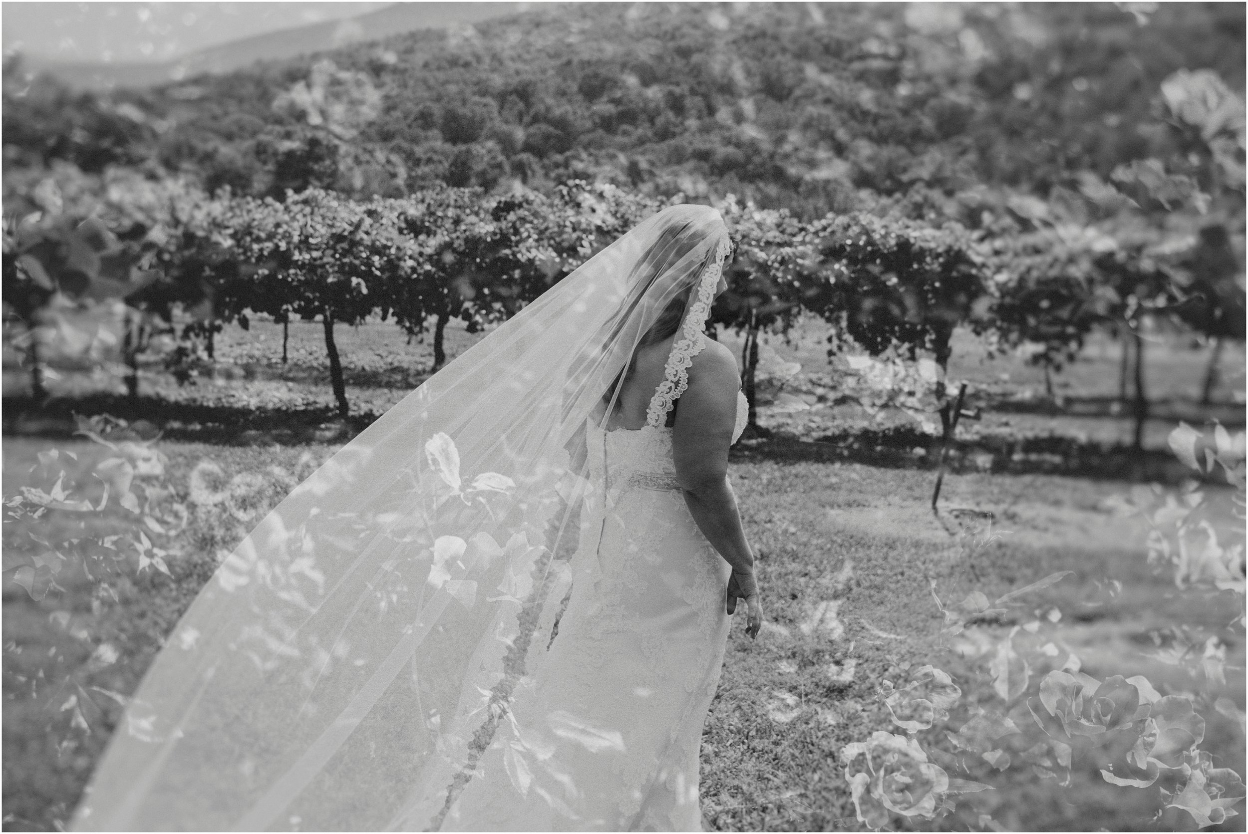 Double exposure fineart wedding photo of bride walking to the first look with her groom