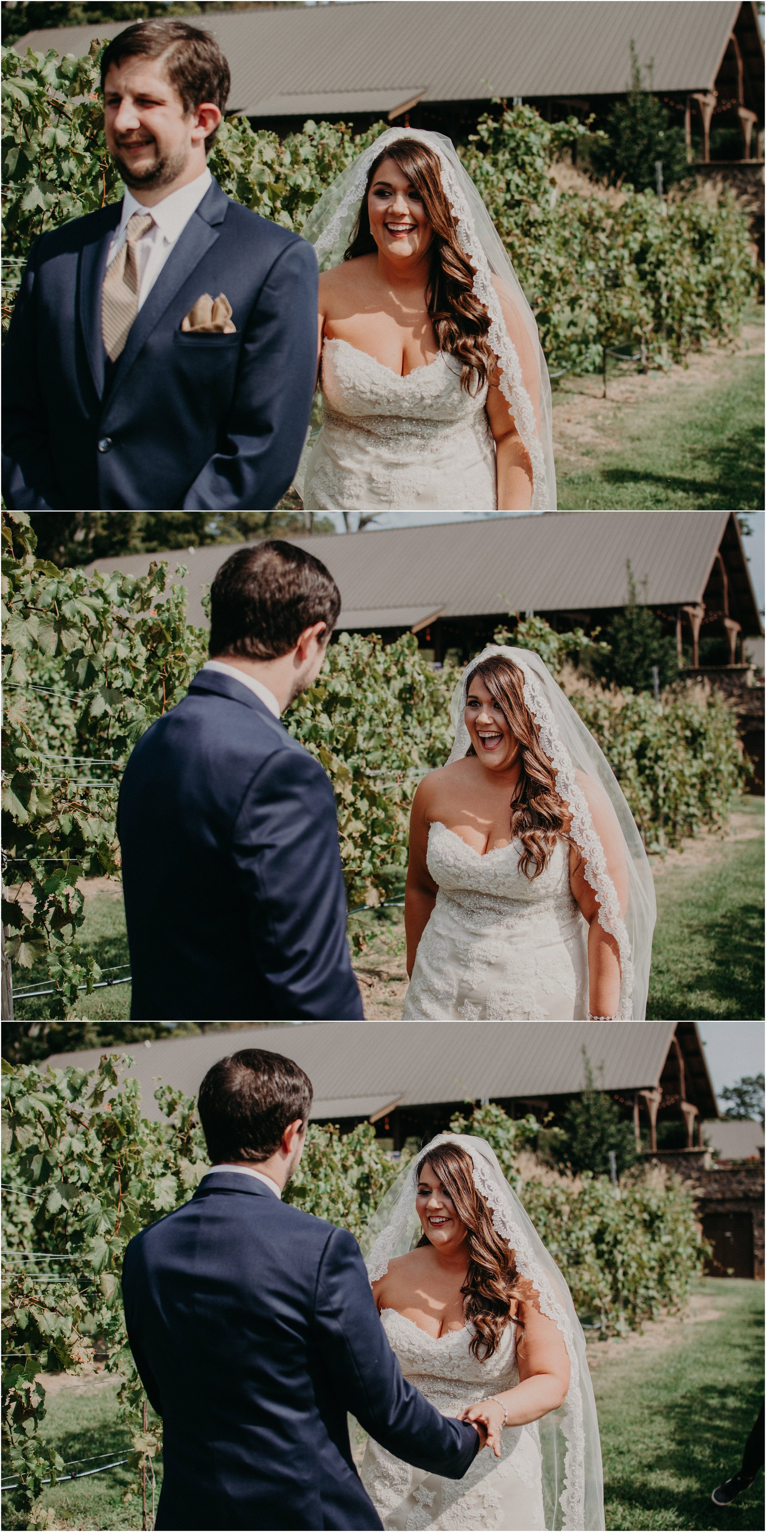 Bride and groom reactions to see each other for the first time on their wedding day