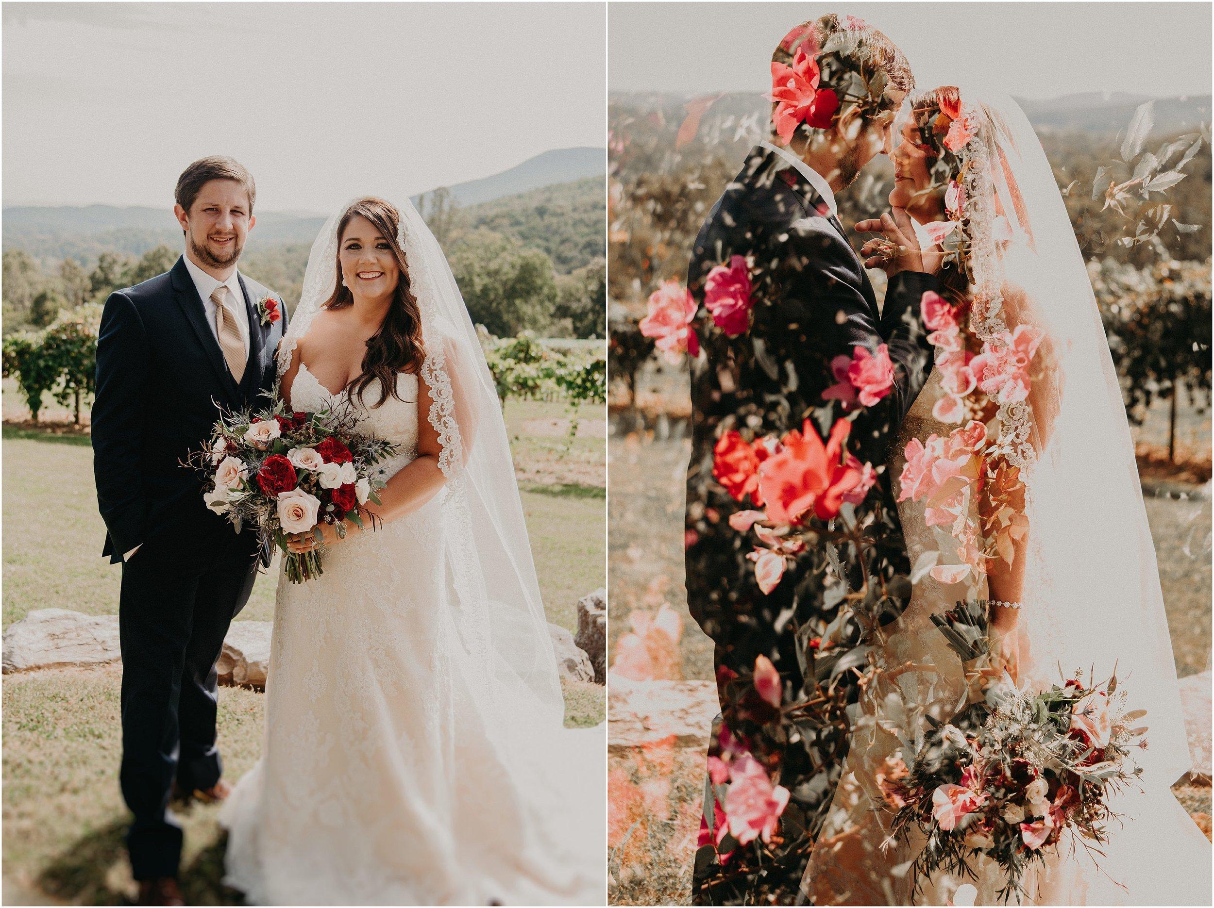 Double exposure wedding portrait with rose overlays