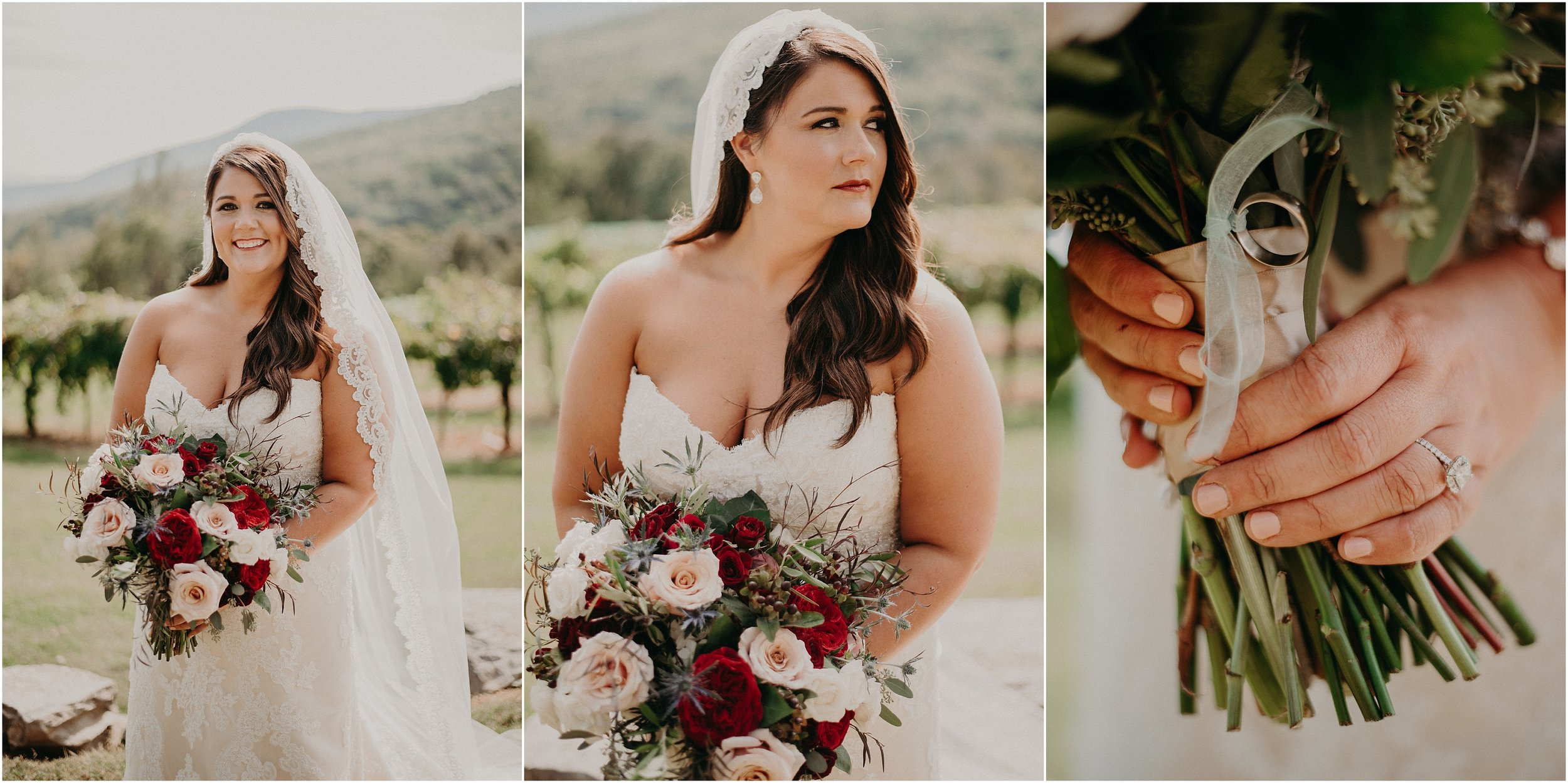 Timeless bridal portraits with cathedral veil and bouquet by Chickamauga Florist