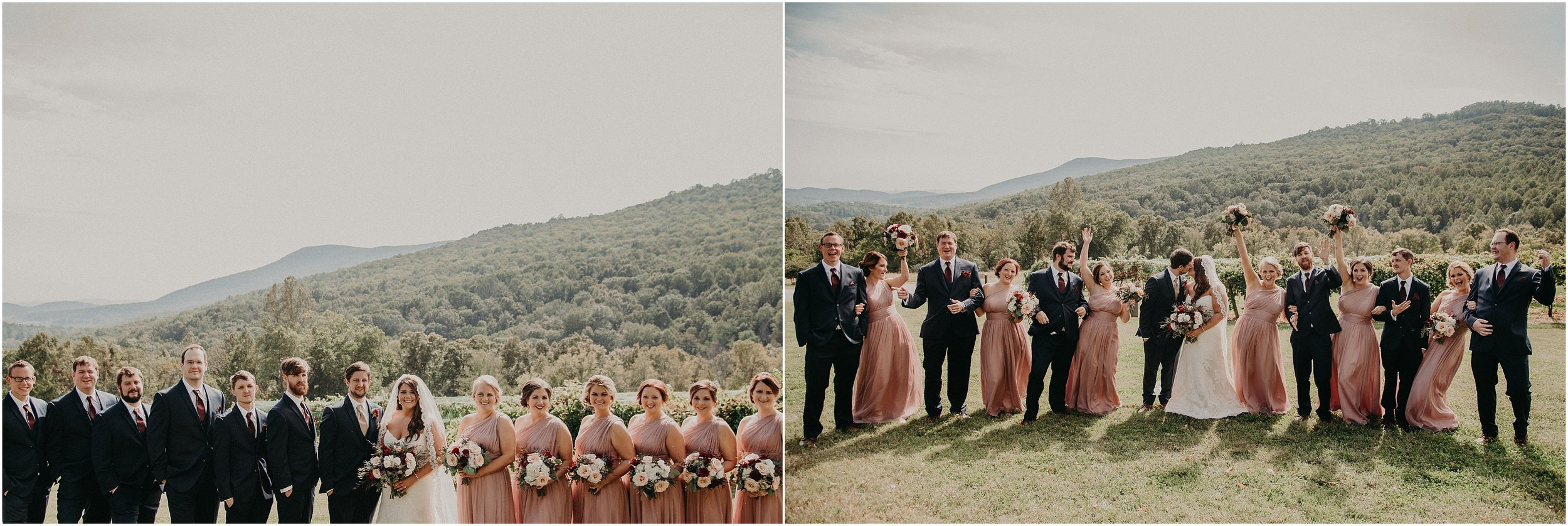 Wedding party portrait and celebration with pops of blush pink and navy